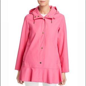 Kate Spade Matte Coated Flounce Peplum Rain Jacket